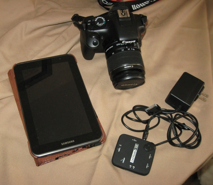 The tablet, hub and camera that I brought with me. This all fit nicely in my purse.