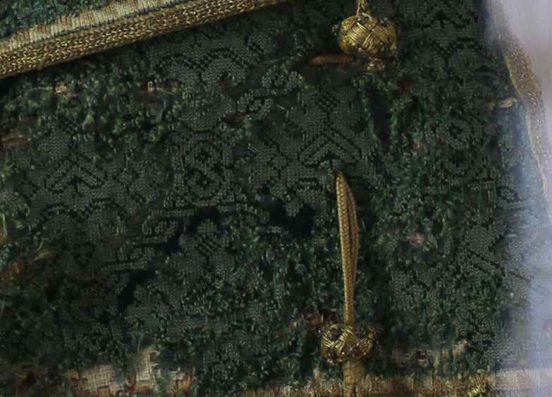 Detail photo of Notentasche - Green silk knitted bag, Southern German, 1550-1600 Schloss Ambras, Inv.Nr. KK 5369 Photos by Marion McNealy